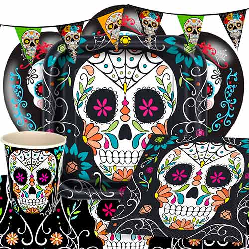 Day Of The Dead Skull 8 Person Deluxe Party Pack Product Image