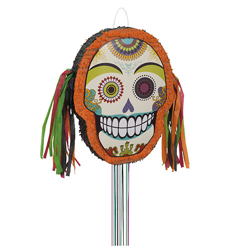 Halloween Day Of The Dead Shaped Pull String Pinata