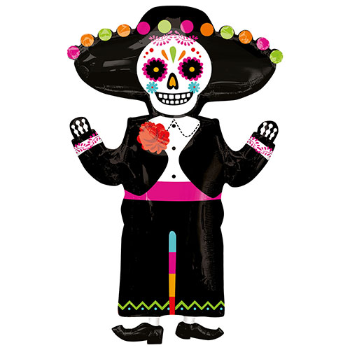 Day of the Dead Skeleton Halloween Helium Foil Giant Balloon 86cm / 34 in Product Image