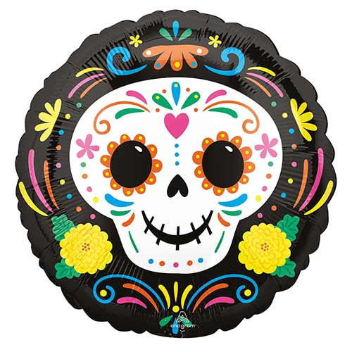 Day of the Dead Skull Halloween Round Foil Helium Balloon 43cm / 17 in Product Image