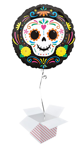 Day of the Dead Skull Halloween Round Foil Helium Balloon - Inflated Balloon in a Box Product Image