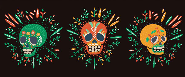 Day of the Dead Three Skulls Halloween PVC Party Sign Decoration 60cm x 25cm Product Image