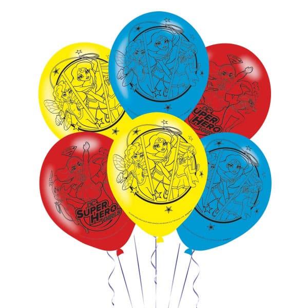 DC Super Hero Girls Latex Balloons - 27cm - Pack of 6