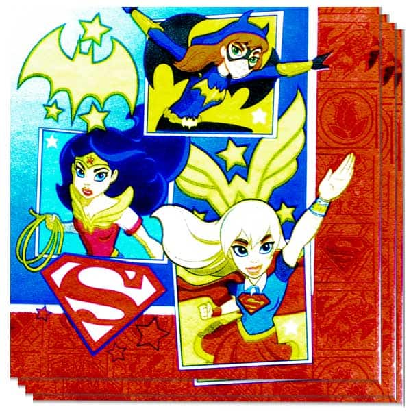 DC Super Hero Girls Paper Napkins 2 Ply - 33cm - Pack of 16 Product Image