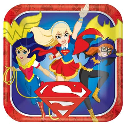 DC Super Hero Girls Square Paper Plates 23cm - Pack of 8