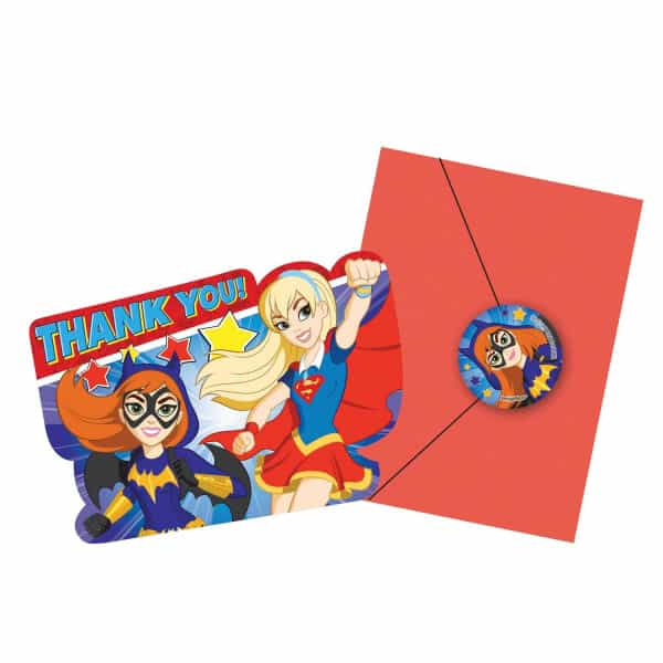 DC Super Hero Girls Thank You Cards With Envelopes - Pack of 8