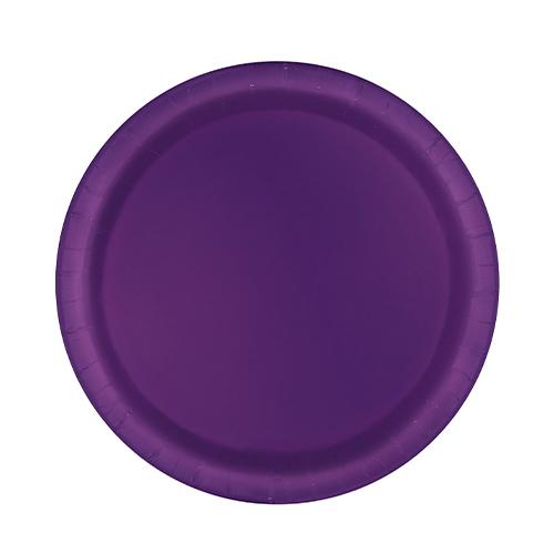 Deep Purple Round Paper Plates 17cm - Pack of 20