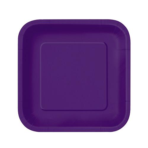 Deep Purple Square Paper Plates 17cm - Pack of 16