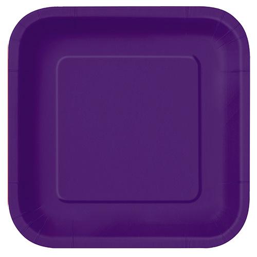 Deep Purple Square Paper Plates 22cm - Pack of 14