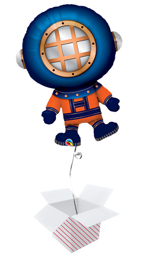 Deep Sea Diver Helium Foil Giant Qualatex Balloon - Inflated Balloon in a Box Product Image