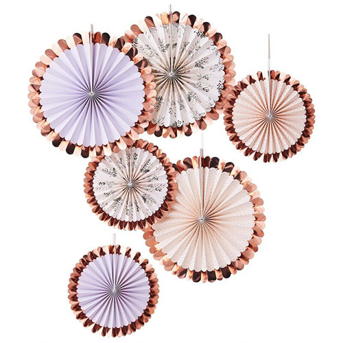 Deluxe Pastel & Floral Rose Gold Foiled Paper Fans Hanging Decorations - Pack of 6 Product Image