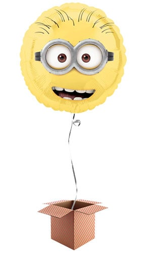 Despicable Me Minion Round Foil Balloon - Inflated Balloon in a Box Product Image