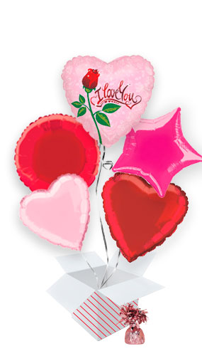 Dew Drop Love Valentine's Balloon Bouquet - 5 Inflated Balloons In A Box Product Image