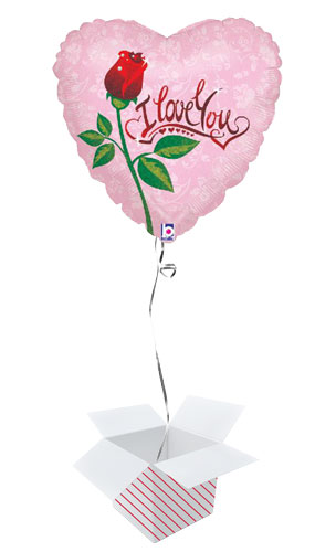 Dew Drop Love Valentines Holographic Foil Helium Balloon - Inflated Balloon in a Box Product Image