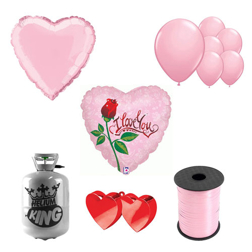 Dew Drop Love Valentine's Small Helium Gas Package With Balloons