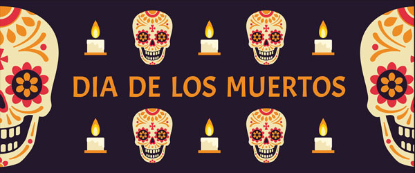 Dia de los Muertos Candles & Skulls Halloween PVC Party Sign Decoration 60cm x 25cm Product Image