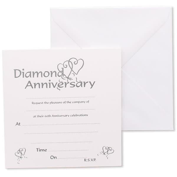 Diamond Anniversary Invitations with Envelopes - Pack of 10 Product Image