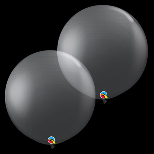 Diamond Clear Round Jumbo Latex Qualatex Balloons 91cm / 36 in - Pack of 2