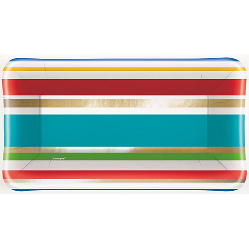 Diamonds Stripes Party Rectangular Appetizer Plate 23cm - Pack of 8