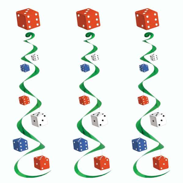 Dice Whirls Hanging Decoration - 30 Inches / 76cm - Pack of 3 Product Image