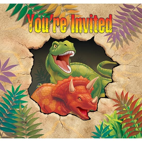 Dino Blast Invitations with Envelopes - Pack of 8