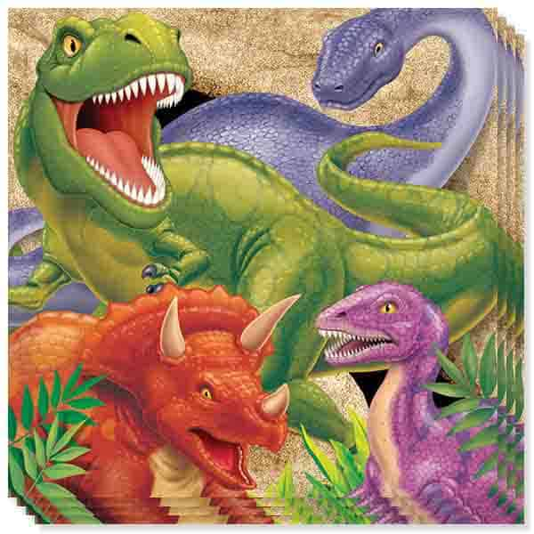 Dino Blast 3 Ply Luncheon Napkins - 13 Inches / 33cm - Pack of 16