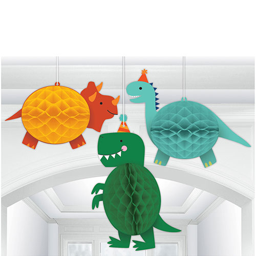 Dino-Mite Party Dinosaur Honeycomb Hanging Decorations - Pack of 3