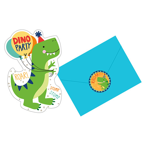 Dino-Mite Party Dinosaur Invitations with Envelopes - Pack of 8