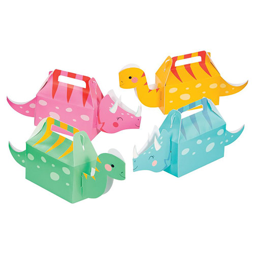 Dino Party Girl 3D Treat Boxes - Pack of 4 Product Image
