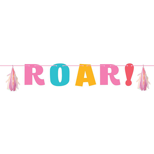 Dino Party Girl Roar With Tassels Cardboard Letter Banner 137cm Product Image