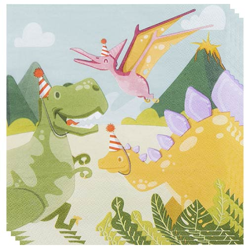 Dinosaur Fun Party Paper Napkins 2 Ply 33cm - Pack of 12 Product Image