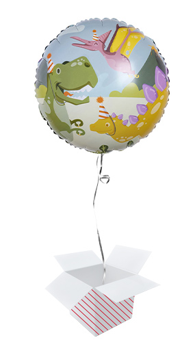 Dinosaur Fun Party Round Foil Helium Balloon - Inflated Balloon in a Box