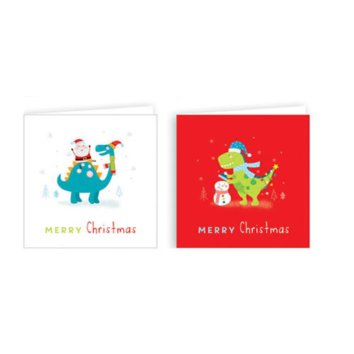 Assorted Metallic Dinosaur Christmas Cards with Envelopes 10cm - Pack of 20