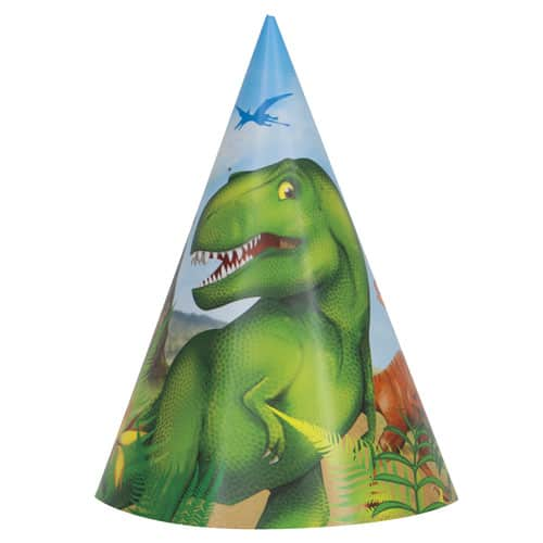 Dinosaur Fun Cone Party Hats - Pack of 8
