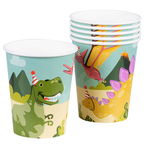 Dinosaur Fun Party Paper Cups 250ml - Pack of 6 Product Image