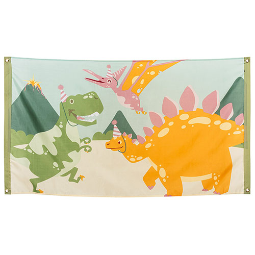Dinosaur Fun Party Polyester Flag 150cm Product Image