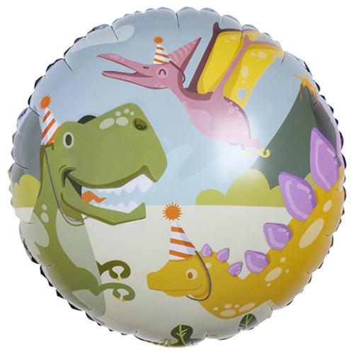 Dinosaur Fun Party Round Foil Helium Balloon 45cm / 18 in