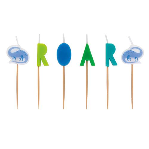 Dinosaur Roar Birthday Pick Candles - Pack of 6