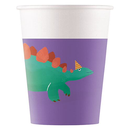 Dinosaur Roar Compostable Paper Cups 200ml - Pack of 8 Product Image