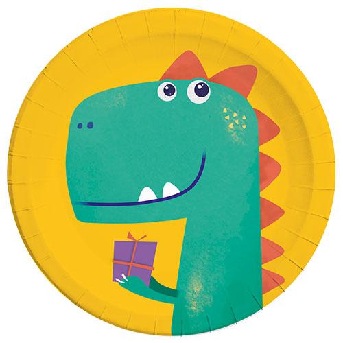 Dinosaur Roar Compostable Round Paper Plates 23cm - Pack of 8