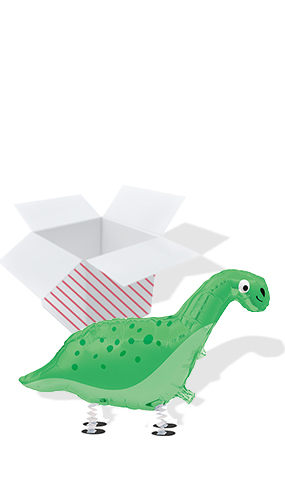 Dinosaur Walking Pet Foil Helium Balloon - Inflated Balloon in a Box