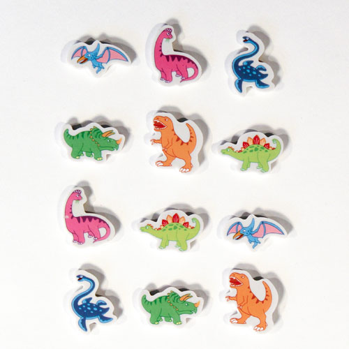 Dinosaurs Novelty Erasers - Pack of 12