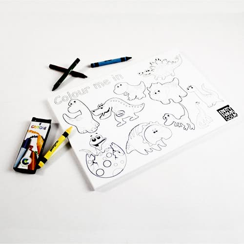 Dinosaurs Themed A4 Colouring sheet With 4 Crayons
