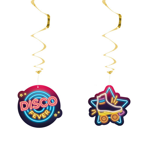 Disco Fever Foil Hanging Swirl Decorations - Pack of 2 Product Image
