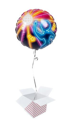 Disco Fever Two-Sided Round Foil Helium Balloon - Inflated Balloon in a Box Product Gallery Image