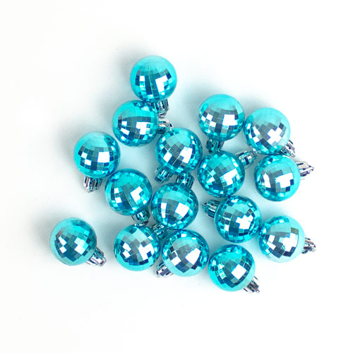 Disco Ice Blue Baubles Christmas Tree Decorations 3cm - Pack of 24