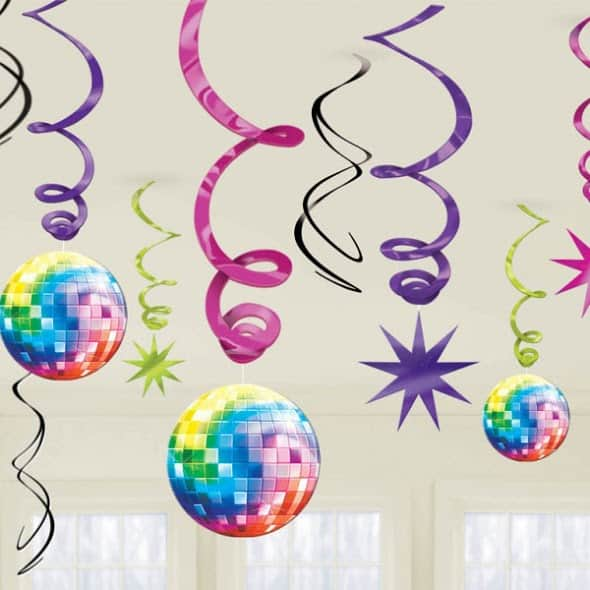 Disco Party Swirls Decoration - Pack of 12 Product Image