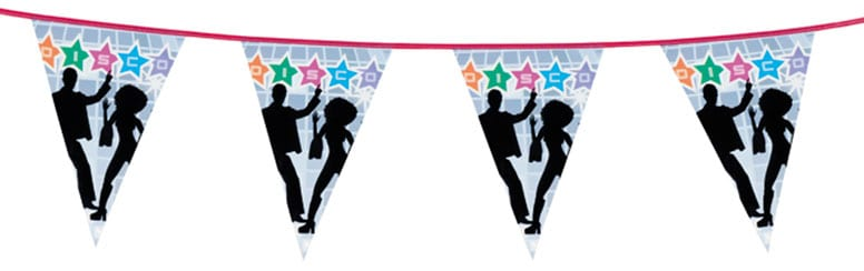 Disco Themed Plastic Pennant Banner - 6m Product Image