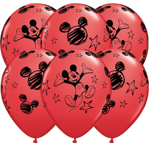 Disney Mickey Latex Helium Qualatex Balloons 30cm / 12 in - Pack of 6 Product Image