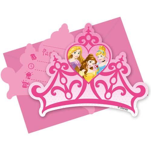 Disney Princess Invitations with Envelopes - Pack of 6
